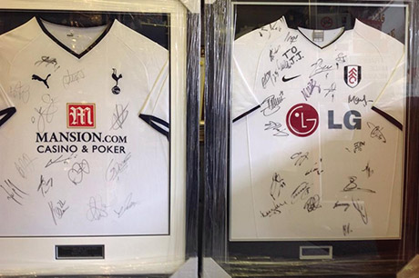 Football shirts and sports memorabilia framing